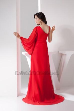 Klassisches rotes einärmliges A-Linien-Abendkleid
