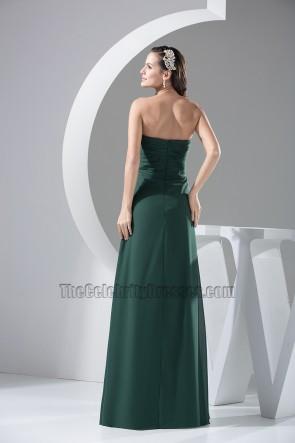 Dark Green Strapless Chiffon Bridesmaid Prom Gown Evening Dress