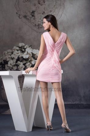 Rabatt kurze Mini V-Ausschnitt rosa Chiffon Party Abschlusskleid