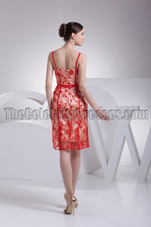 Red Lace Knee Length Cocktail Party Dresses