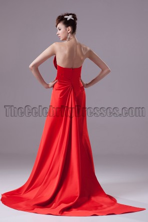 Elegant Red Strapless A-Line Formal Dress Evening Gown
