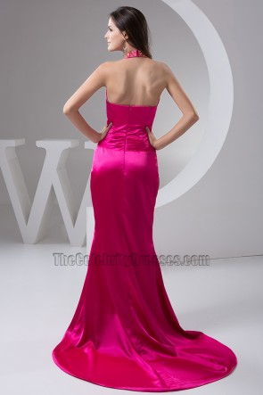 Fuchsia Halter Silk Like Satin Evening Gown Prom Dresses