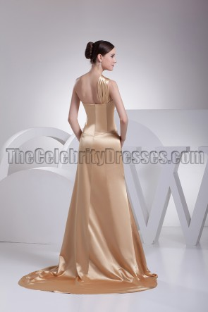 Gold One Shoulder Evening Dress Formal Prom Gown