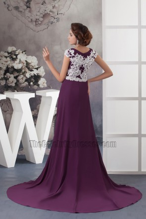 Grape Embroidered Formal Dress Evening Prom Gown