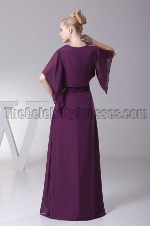 Grape V-Neck Chiffon Bridesmaid Prom Dresses