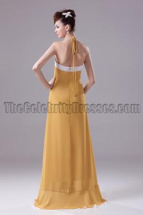 Neckholder ausgeschnittenes Chiffon-Abschluss Ballkleid Abendkleid