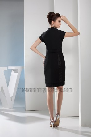 Black Cut Out V-Neck Cocktail Party Graduation Dresses