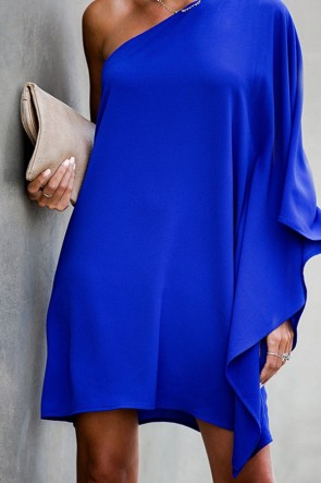 One Shoulder Plain Dress
