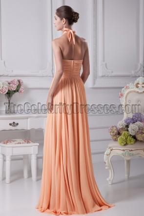 Orange Halter Bridesmaid Prom Gown Evening Dresses