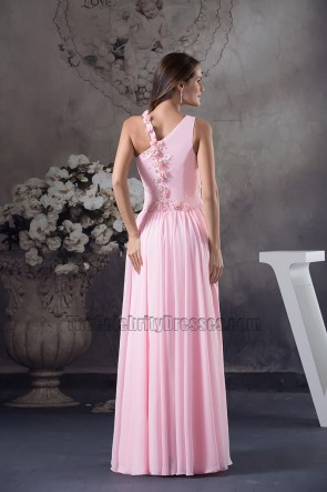Rosa Chiffon bodenlanges Brautjungfernkleid Ballkleid