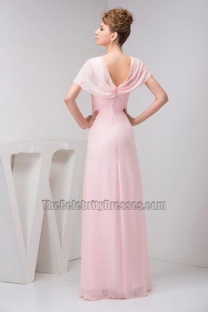 Gorgeous Pink Prom Bridesmaid Dress With Flowers