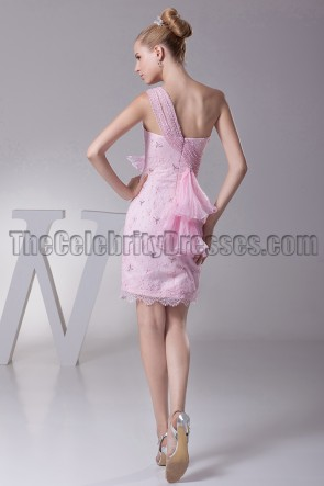 Pink One Shoulder Party Cocktail Homecoming Dresses
