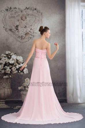 Rosa trägerloses Chiffon Abendkleid Ballkleid