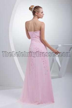 Rosa trägerloses Perlen-Abendkleid Ballkleid