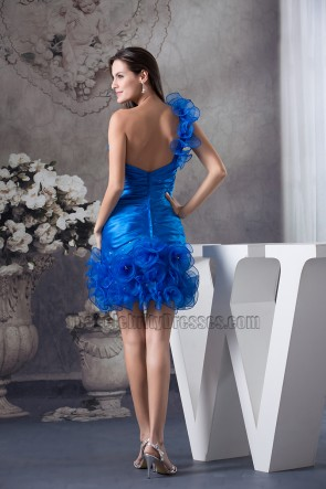 Königsblau ein Schulter kurzes Party-Heimkehrkleid