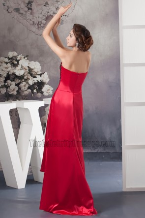 Sexy Red Strapless High Low Prom Gown Evening Dresses