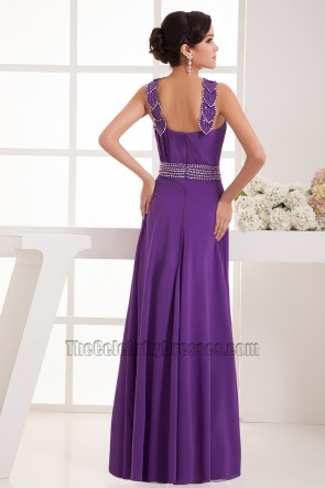 Floor Length Purple Chiffon Bridesmaid Prom Dresses