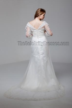 Scheide / Säule aus der Schulter Spitze Brautkleid
