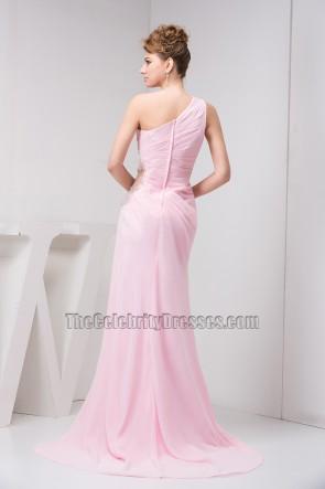 Mantel / Säule rosa Chiffon ein Schulter Abendkleid