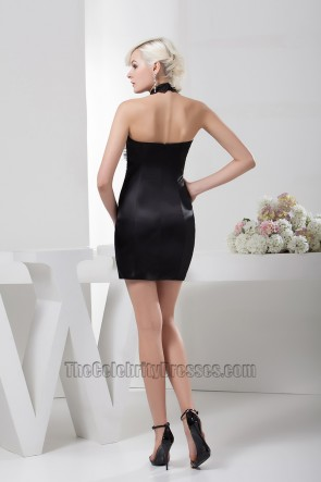 Sheath/Column Short Black Halter Beaded Party Cocktail Dresses