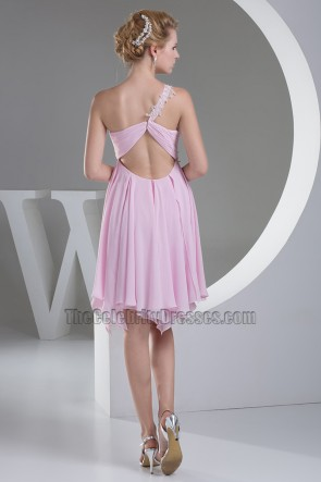 Kurze rosa A-Linie ein Schulter Abschlussfeier Kleid
