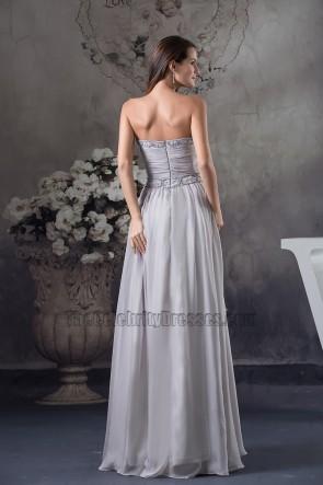 Silberne trägerlose Ballkleid Abendkleid mit Perlen