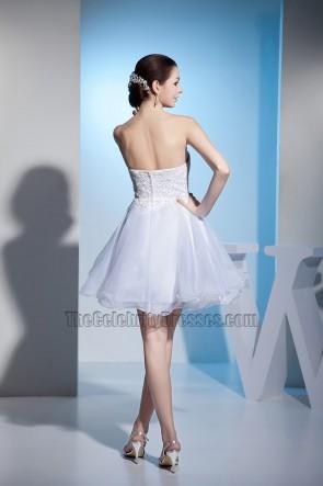 Trägerloses Schatz-kurzes A-Linien-Party-Hochzeitskleid