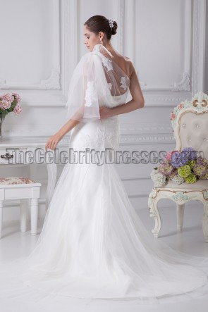 Tulle One Shoulder Embroidery Mermaid Wedding Dresses
