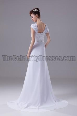 Weißes Chiffon-Abendkleid mit Flügelärmeln aus Chiffon