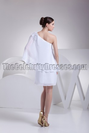 Celebrity Inspired White One Sleeve Cocktail Party Dress