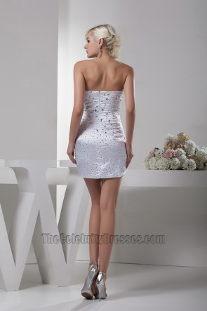 White Short Mini Sweetheart Strapless Beaded Party Cocktail Dress
