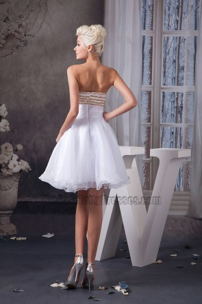 White Strapless A-Line Beaded Sweetheart Cocktail Party Dresses