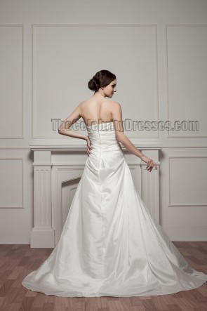 A-Line Chapel Train Strapless Sequined Wedding Dress