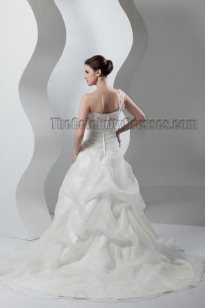 A-Line One Shoulder Sweep/Brush Train Wedding Dresses