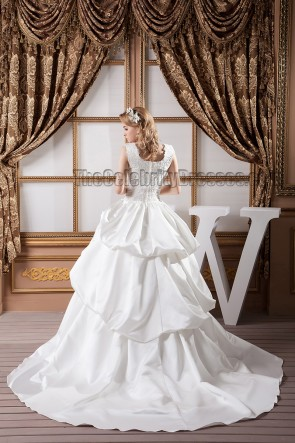 A-Linie quadratischer Ausschnitt Perlen bestickt Brautkleid