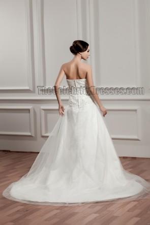 A-Line Strapless Lace Chapel Train Organza Wedding Dresses