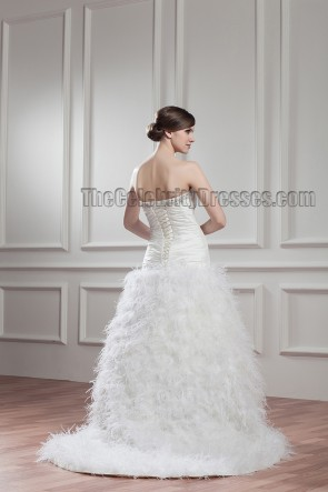 A-Line Strapless Sweetheart Feathers Wedding Dress With A Wrap
