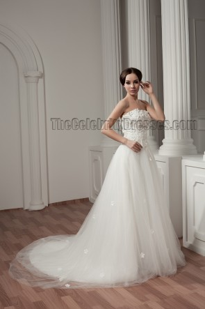 A-Line Strapless Tulle Chapel Train Wedding Dresses