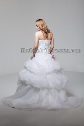 A-Line Sweetheart Strapless Organza Wedding Dresses