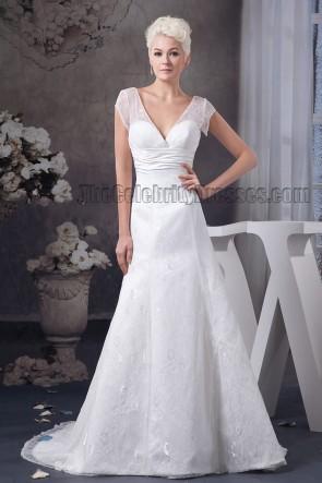 A-Line V-Neck Cap Sleeve Chapel Train Wedding Dress