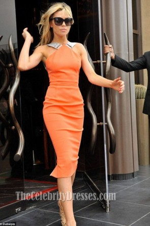 Abbey Clancy Orange Cocktail Dress Knee Length Celebrity Dresses