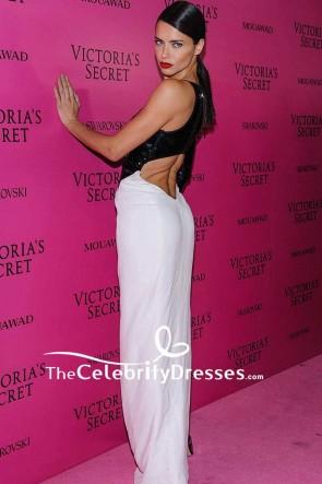 Adriana Lima Weiß Und Schwarz Ausgeschnitten High Slit Abendkleid 2017 Victoria's Secret Modenschau nach der Party