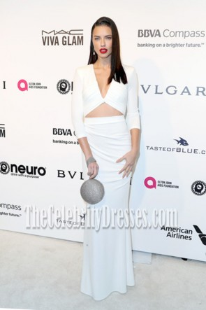 Adriana Lima White Cutout Long Evening Gown Elton John AIDS Foundation Oscar-viewing Party