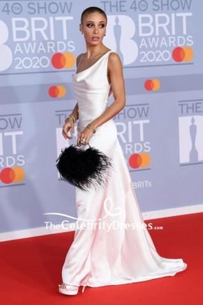 Adwoa Aboah White Sheath Formal Dress 2020 BRIT Awards TCD8865