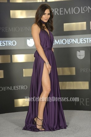 Alejandra Espinoza Premio Lo Nuestro 2016 reizvolle purpurrote Halter-Abschlussball Abendkleid