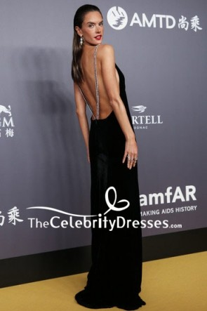 Alessandra Ambrosio Black V-neck Backless Evening Formal Dress  2018 amfAR Hong Kong Gala Red Carpet TCD7815
