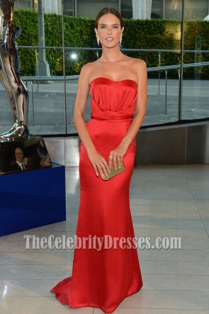 Alessandro Ambrosio Red Strapless Evening Dress 2014 CFDA Fashion Awards 2