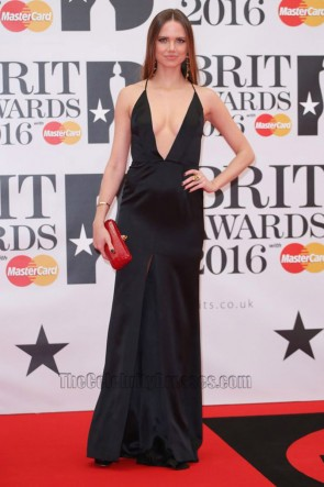 Alicia Rountree 2016 Brit Awards Black Backless  Evening Dress Deep V Slit Prom Gown  1