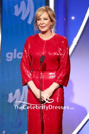 Allison Janney Red Sequined Cocktail Dress 2019 GLAAD Media Awards TCD8360