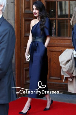 Amal Clooney Dark Navy One-shoulder Satin Jumpsuit 2019 TCD8534